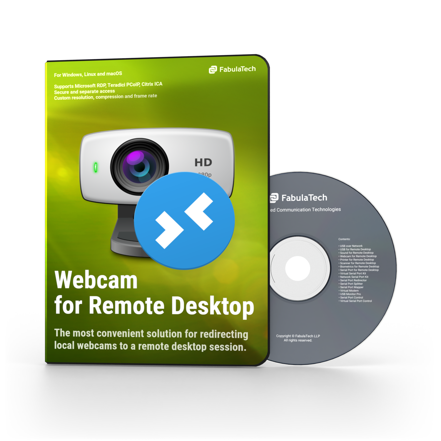 Webcam for Remote Desktop Software Box and CD