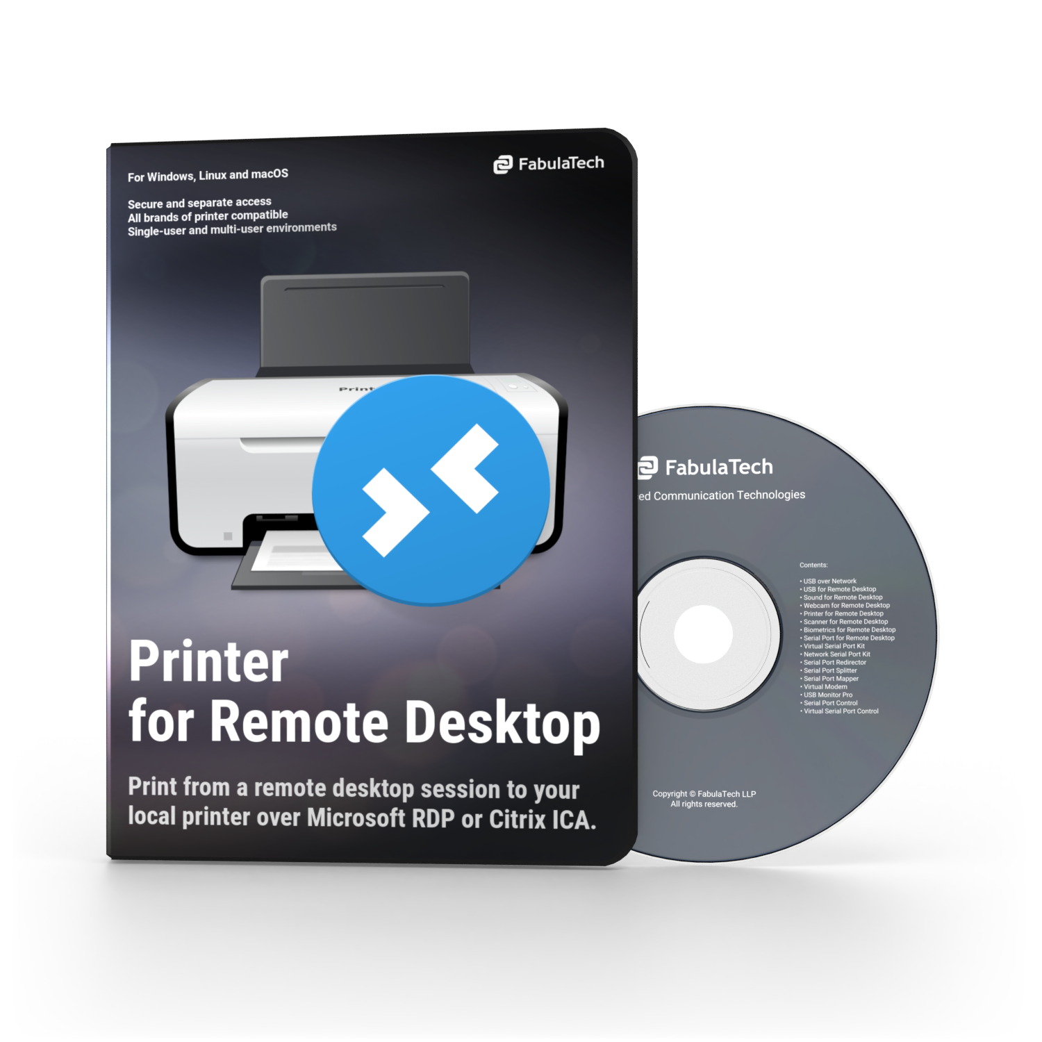 Printer for Remote Desktop Box and CD PNG 750x750
