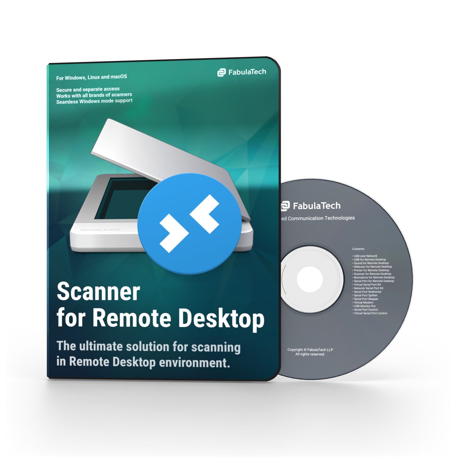 Scanner for Remote Desktop Software Box and CD
