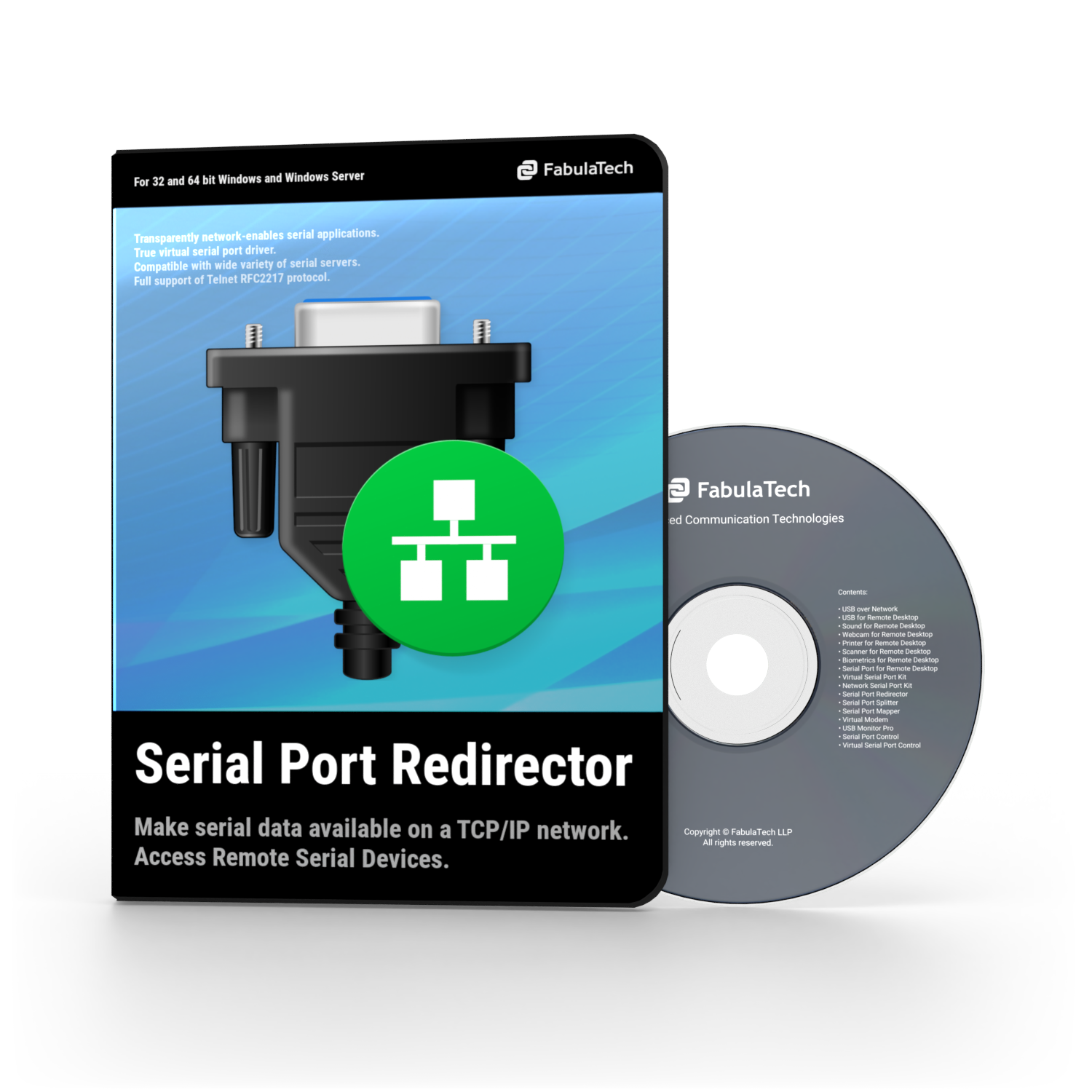 Serial Port Redirector Software Box and CD