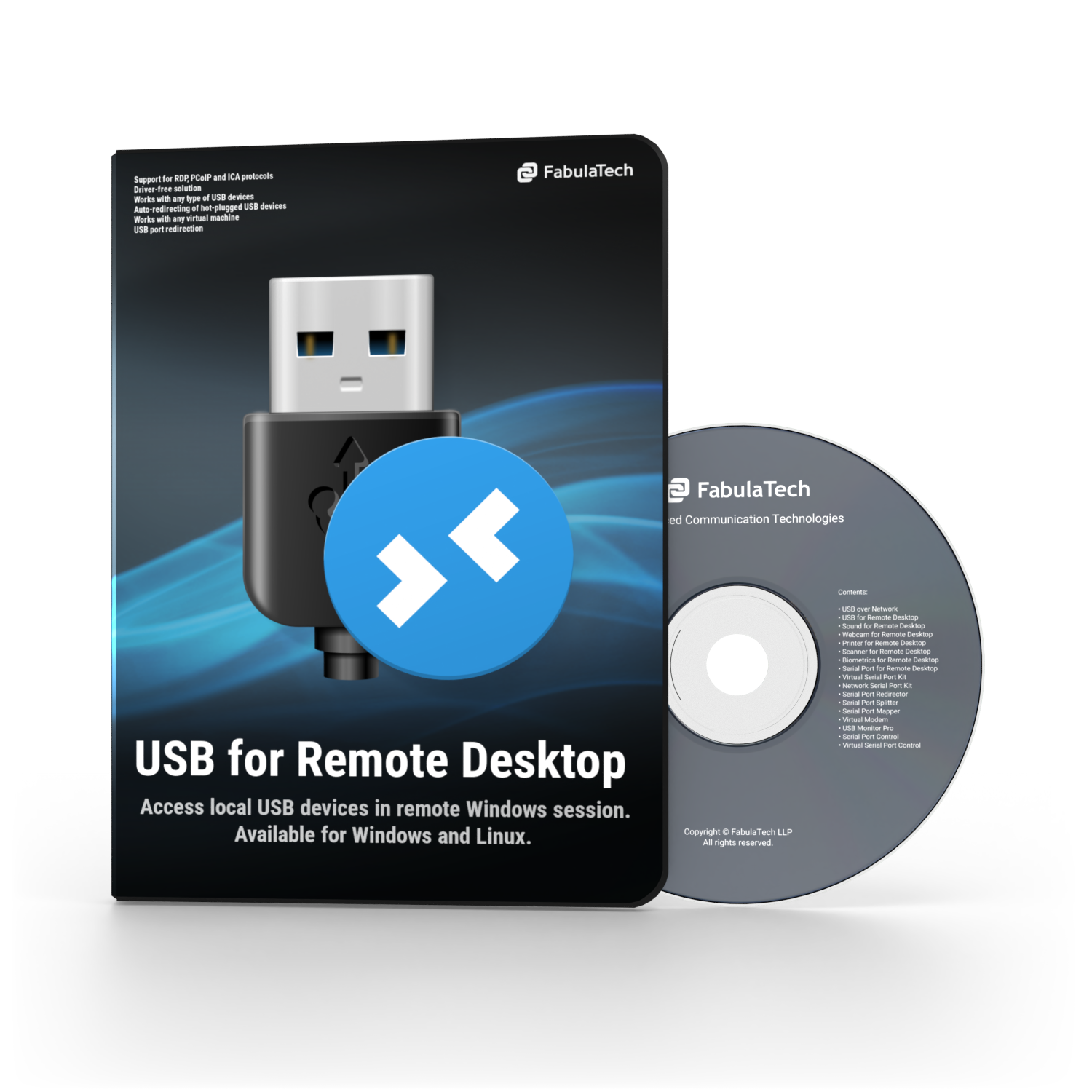 USB for Remote Desktop Software Box and CD