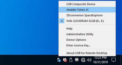 USB for Remote Desktop menu
