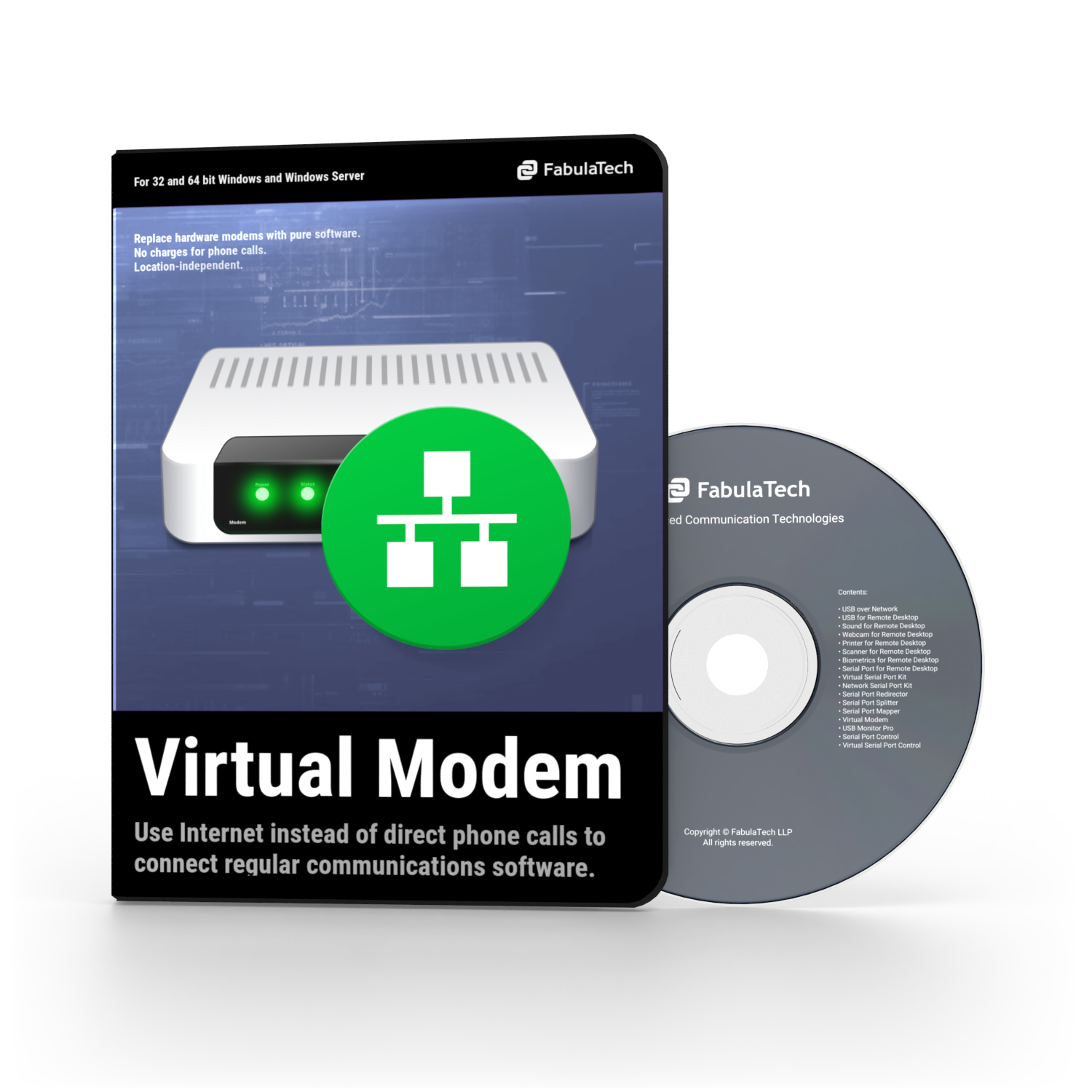 Virtual Modem Software Box and CD